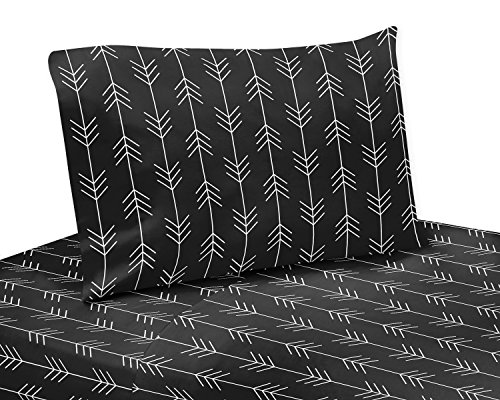 Sweet Jojo Designs Black and White Woodland Arrow Queen Sheet Rustic Patch Collection-4 Piece Set