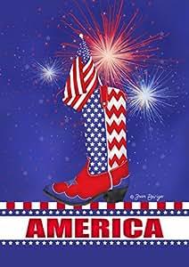 Toland Home Garden 1010775 Celebrate America-Decorative Red White Blue Cowboy Firework House Flag