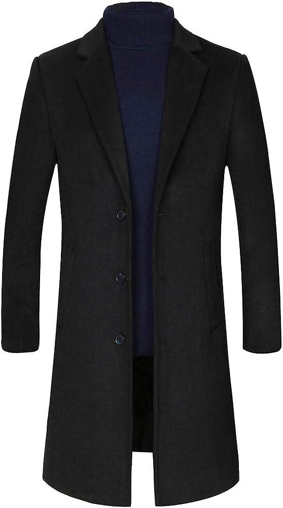 Volwassan Mens Long Trench Coat Elegant Wool Coat Business Winter Warm Woolen Overcoat Jacket Pea Coat Black