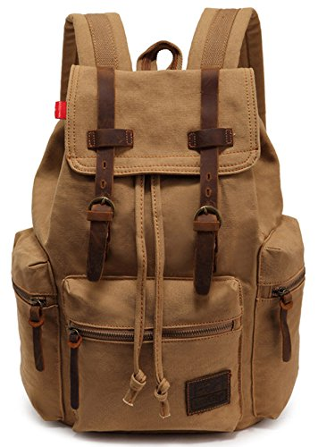 EcoCity Vintage Canvas Backpack Rucksack Casual Daypacks (khaki)