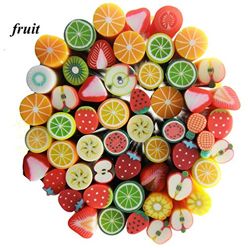 Kamas New 1pack 50pcs Fimo Nail Stickers Fimo Canes Fruit 3D Nail Art Decoration Polymer Clay Animal Flower Fimo Rods Nail DIY Design - (Color: Halloween)