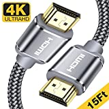 HDMI Cable 15 Ft, Capshi High Speed 4K HDMI 2.0 Cable Braided Cord Ultra-HD with Gold Plated Connectors - Ethernet/Audio Return Channel-Video 4K UHD 2160p, HD 1080p, 3D-Xbox Playstation PS3 PS4 PC