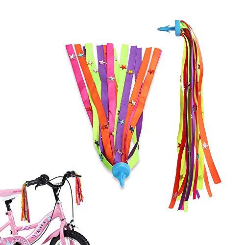 MINI-FACTORY Kids Bicycle Streamers Bike Scooter Handlebar Colorful Star Tassel Ribbon for Girls – 2Pcs