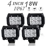 DOT Approved 4Pcs 4Inch 18W Flood LED Light Bar Offroad Pods Lights 4wd LED Driving Lamp Work Light Bulb Fog Lights Backup Reverse Lights for Truck Pickup Jeep SUV ATV UTV Tractor Boat Waterproof IP67