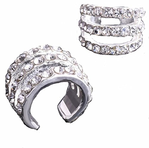 HYYIdealism 2PCS/Pair Silver paved with crystal Gems Tone Cartilage Helix Ear Cuff 3 layers Hoops Earrings