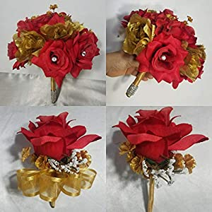 Red Gold Rose Hydrangea Bridal Wedding Bouquet & Boutonniere 116