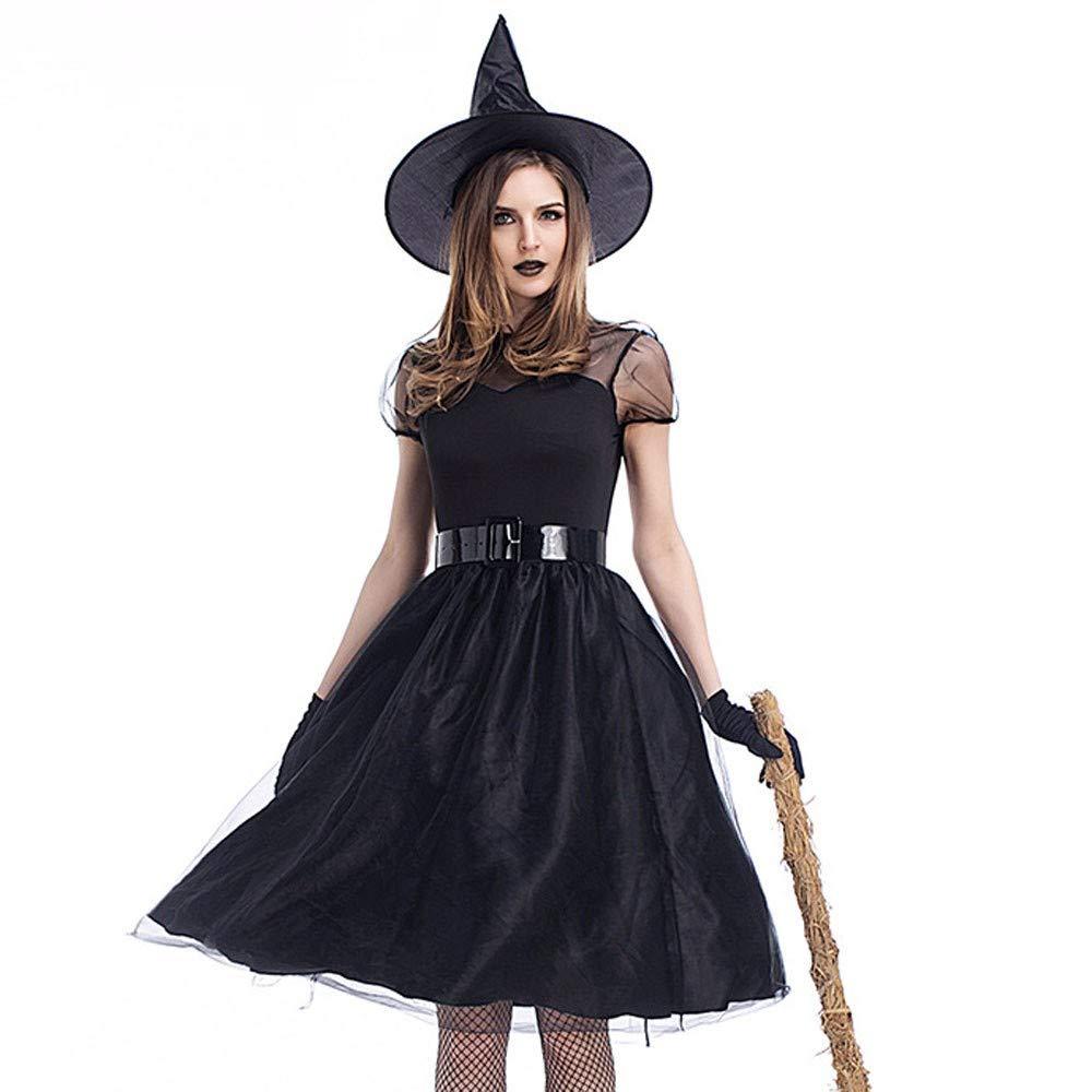 UONQD 4PC Women Halloween Costume Cosplay Ball Party Dress Hat Belt Gloves Suit (X-Large,Black)