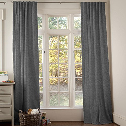 Carousel Designs Dark Gray Heather Drape Panel 96-Inch Length Standard Lining 42-Inch Width by Carousel Designs