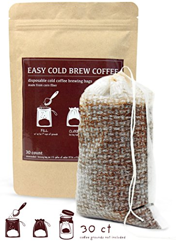 No Intervene Cold Brew Coffee Filters - Easy, Single Use, Disposable, Fine Mesh Brewing Bags for Concentrate, Iced Coffee, Cold Press, French Force, Tea in 24oz or 2 Quart Mason Jar or Pitcher (30 Count)