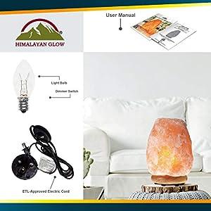 Himalayan Glow Natural Himalayan Salt Lamp, Crystal Salt Lamps, Real Wood Base with Dimmer Switch, Handmade Salt Lamp, Gift Lamp, Holiday Gift, ETL Certified | 7-11 LBS