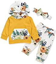 i-Auto Time Cute Newborn Infant Baby Girl Clothes Long Sleeve Hoodie+Floral Pants+Headbands with Bows Outfits