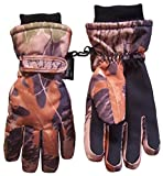 #1: N'Ice Caps Kids Cold Weather Waterproof Camo Print Thinsulate Ski Gloves