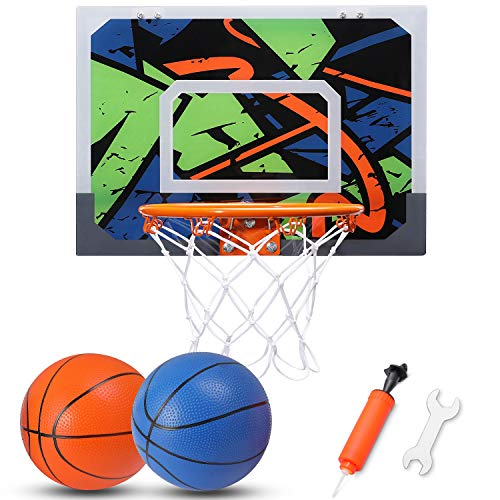 Basketball Hoop Set for Kids, Toy Basketball Set 16'' x 12'' Mini Backboard 2 Balls with Hand Pump, Family Sport Game for Home Office Door Wall-Mount, Xmas Birthday Gift for Boys Teens Adults