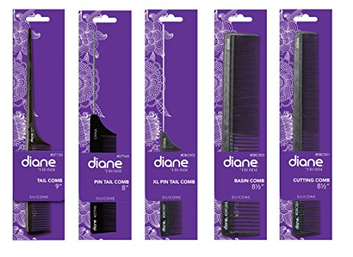 Diane Heat Resistant Silicone Combs Black Set - Get 5 combs