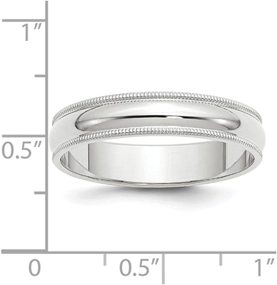 Solid 10k White Gold 5mm Milgrain Half Round Wedding Band