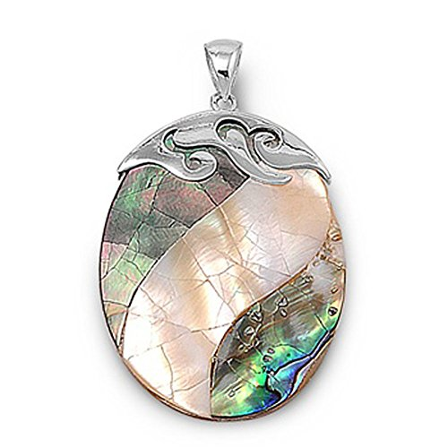 Oval Pendant Simulated Abalone .925 Sterling Silver Charm - Silver Jewelry Accessories Key Chain Bracelet Necklace Pendants
