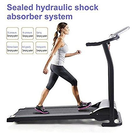 shaofu Easy Assembly Folding Electric Treadmill Motorized Running Machine (US Stock) (Silver)