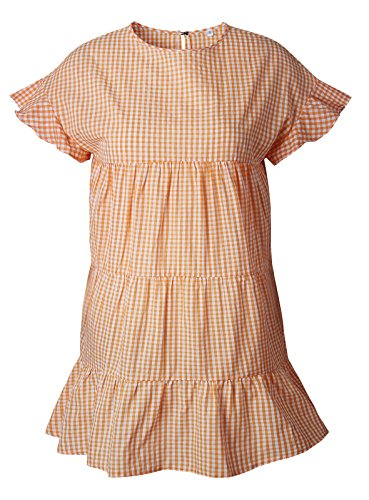 Arctic Cubic Short Sleeve Ruffled Ruffle Hem Plaid Tartan Gingham Checkered Shirred Ruched Mini Babydoll Swing Trapeze Dress Orange M