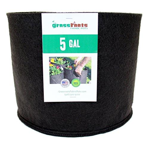 (50 Pack) 5 Gallon Black Grassroots Fabric Pot - Grow Pot and Aeration Container by Grassroots Fabric Pots