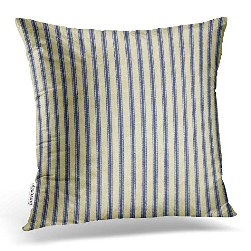 Emvency Throw Pillow Cover Cotton Linen Retro Ticking Blue & White Striped Vintage French Decorative Pillow Case Home Decor Square 18x 18 Inch -
