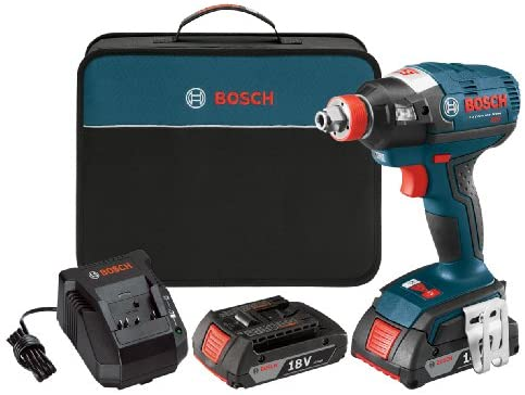 Bosch IDH182-02 Cordless Impact Driver – 18-Volt Lithium Ion Brushless Tool Kit with 2 2.0Ah Lithium Ion Batteries, Charger and Carrying Case