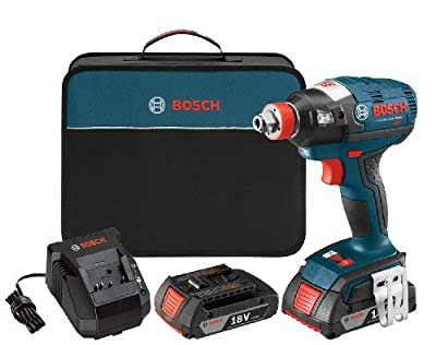 Bosch IDH182-02 18-Volt Brushless Socket Ready (1/4-Inch Hex, 1/2-Inch Square) Impact Driver with (2) 2.0Ah Batteries, Charger and Cas