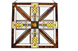LDGJ Mission Style Stained Glass Southwestern Amber Brown White Glass Panel 22'' x 22''