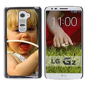 PC/Aluminum Funda Carcasa protectora para LG G2 D800 D802 D802TA D803 VS980 LS980 Cute girl Smiling / JUSTGO PHONE PROTECTOR