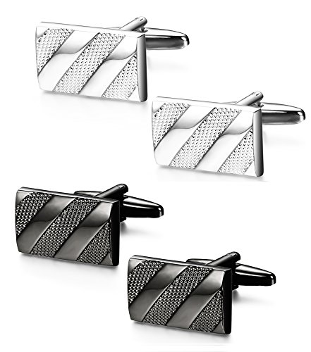 LOYALLOOK Mens Cufflinks Polished Finish French Tuxedo Shirt Cufflinks for Business Wedding Silver Black 2 Pairs