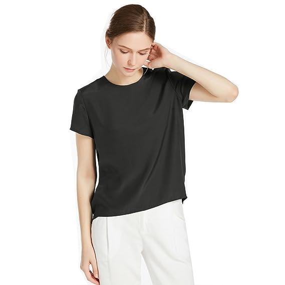 2e487bb4d9 LILYSILK Women s Charmeuse Silk T Shirt Tunic Blouse Top Ladies Short Sleeve  22 Momme Pure Silk