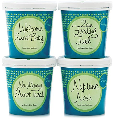 New Baby Ice Cream Gift - eCreamery Gourmet Specialty Handcrafted Premium 4 Pint Collection - Perfect for new parents or grandparents