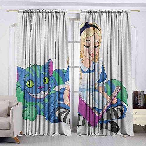 VIVIDX Print Window Curtain,in Wonderland,Alice Reading Book Cat Colorful World Happiness Love Character Image,Insulated with Curtains for Bedroom,W72x72L Inches Multicolor -