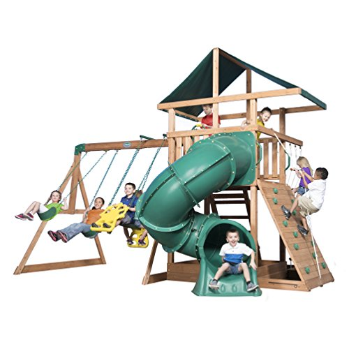 Backyard Discovery Mountain Range All Cedar Wood Playset Swing Set