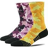 HUSO Digital Camo Performance Hiking Wick Crew Socks for Unisex 1,3,4,6,13 Pairs