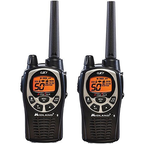 Midland GXT1000VP4 Ear -Mic/Charger/2 Radios, 5W, 36 MI, FRS/GMRS 50 CH by Midland