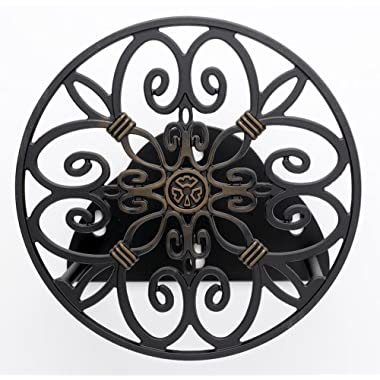 Liberty Garden Products 670 Decorative Anti-Rust Cast Aluminum Wall-Mounted Garden Hose Butler/Hanger with 125-Foot Capacity, Antique Patina Finish