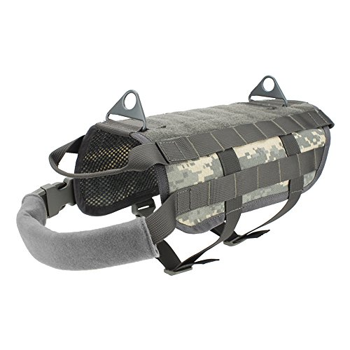 OUTRY Tactical Dog Vest Harness - MOLLE System with PALS Webbing (ACU, M)