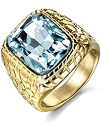 Engraved Stainless Steel Mens Ring Blue Synthetic Aquamarine Cubic Zirconia Gold Color Luxury