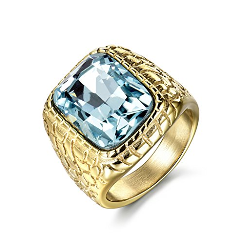 MASOP Engraved Stainless Steel Mens Ring Blue Synthetic Aquamarine Cubic Zirconia Gold Color Luxury