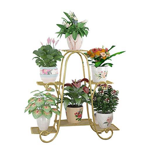 WZHFLOWERSTAND Nordic Multi-Layer Iron Flower Shelf, Landing Step Plant Flower Stand Flower, Balcony Indoor Outdoor Flower Pot Rack, Gold