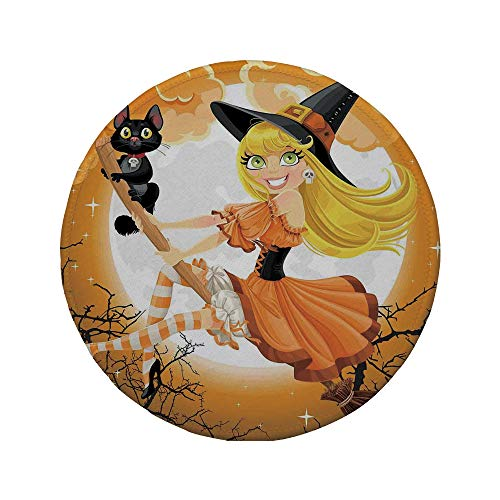 Non-Slip Rubber Round Mouse Pad,Halloween Decorations,Cute Sexy Witch on a Broom with Baby Kitten and Hazy Moonlight Print,Multi,11.8