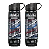 hiking water filter Brita Filtered Water Bottle (includes 1 Filter), Hard Sided, BPA Free, Americana, 23.7 Ounces (2 Pack)