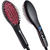 Pink And Black Color Simply Straight Ceramic Hair Straightening Brush