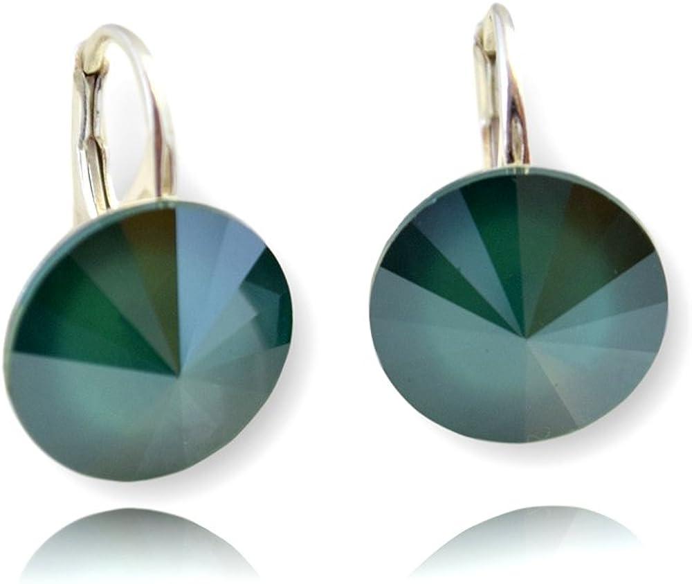 Crystals & Stones Royal Green Rivoli - Pendientes para mujer con cristales de Swarovski Elements, 14 mm, fantásticos pendientes con caja de regalo