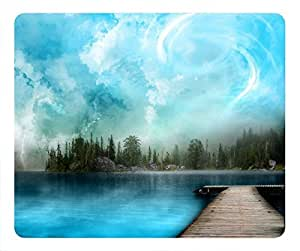 Blue River Lake Wooden Bridge Landscape Easter Thanksgiving Personlized Masterpiece Limited Design Oblong Mouse Pad by Cases & Mousepads