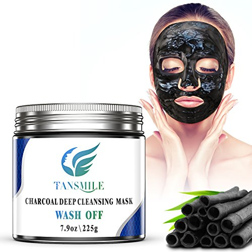 Charcoal Mud Mask Wash Off, Tansmile Deep Pore Cleansing Mask Activated Charcoal Black Facial Mask Wash Off Jelly Mask Black Charcoal Clay Mask for Hydrate, Exfoliation, Revitalizes Skin (7.9oz) (Mud Cleansing Volcanic Mask Deep)