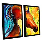ArtWall 2 Piece ''Svetlana Novikova's Fantasy Arabian Horse'' Floater Framed Canvas Artwork, 24'' x 32''