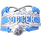 Soccer Charm Bracelet - Infinity Love Adjustable Charm Bracelet with Soccer Charm for Women and Girls