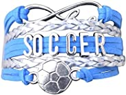 Soccer Charm Bracelet - Infinity Love Adjustable Charm Bracelet with Soccer Charm