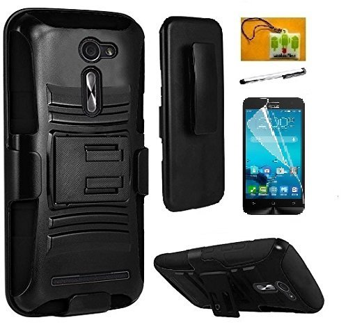Asus Zenfone 2E (AT & T), LF 4 in 1 Bundle, Hybrid Armor Stand Case with Holster and Locking Belt Clip, Stylus Pen, Screen Protector & Wiper Accessory. (Holster Black)